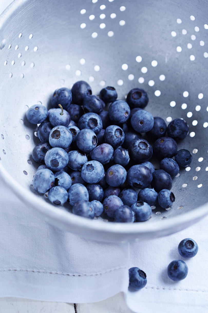 Blueberries in Colander