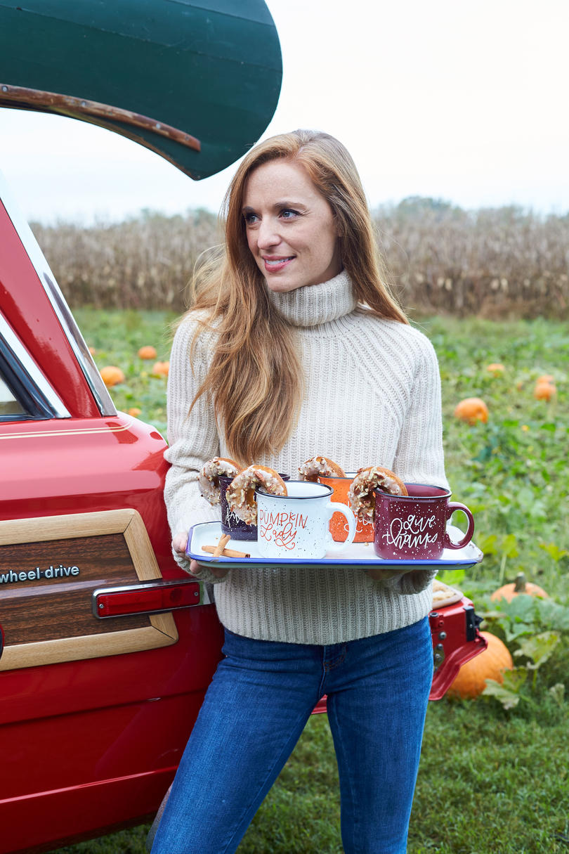 Katie Jacobs Fall Tailgate at Pumpkin Patch with Spiced Tea and Pumpkin Donuts