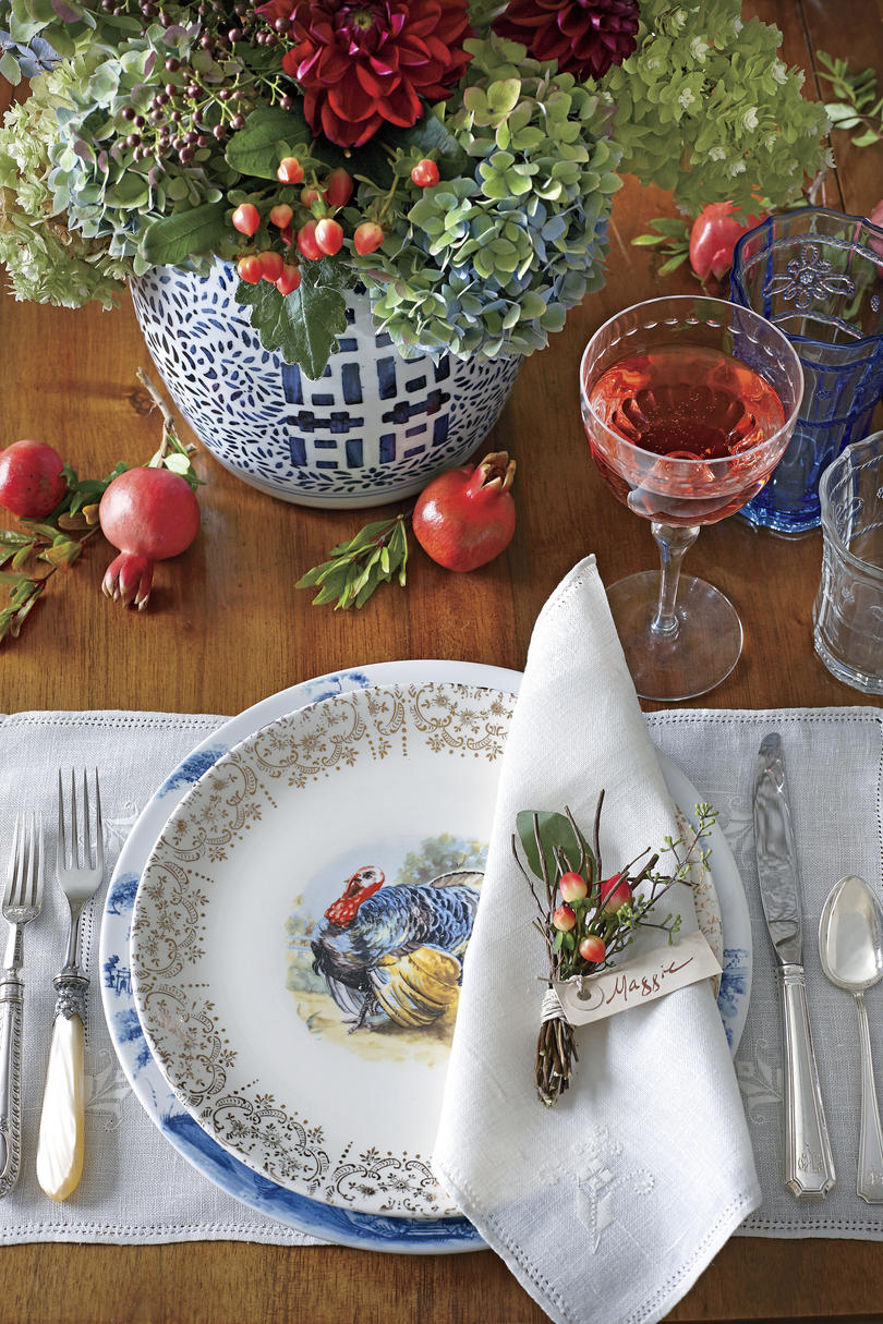 Ginger Jar and Pomegranate Thanksgiving Table by James Farmer