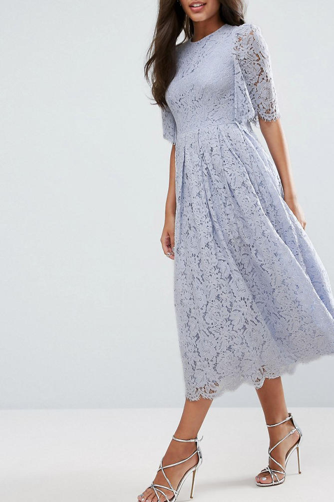ASOS Flutter Sleeve Lace Dress