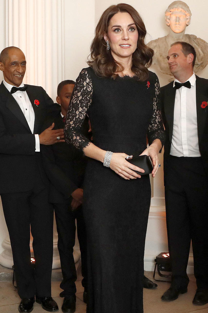 Pregnant Kate Middleton Looks Gorgeous in Lace Dress at Palace Party
