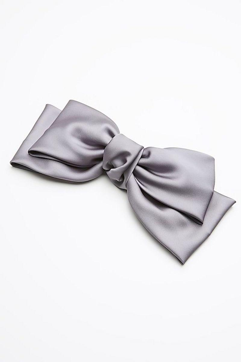 silk bow barrette in lavender