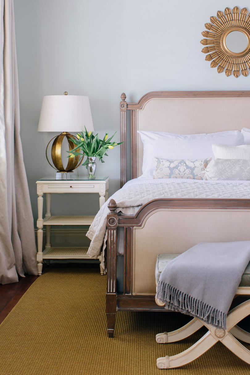 Bedroom with soft pastel and neutral hue palette