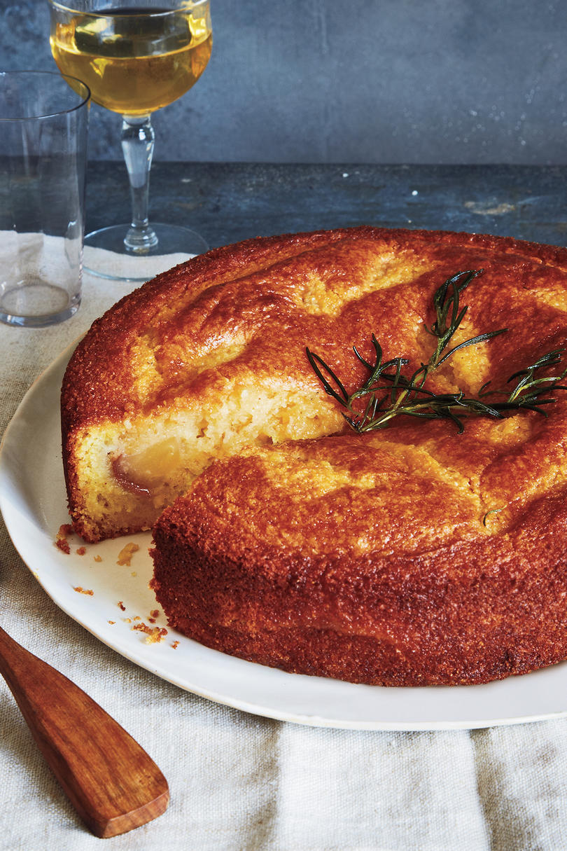 Pear Cornmeal Cake With Rosemary Syrup