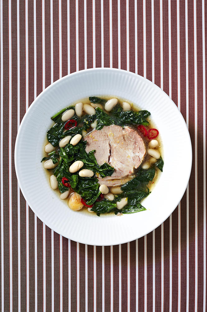 Slow-Cooker Pork Roast with Beans and Spinach