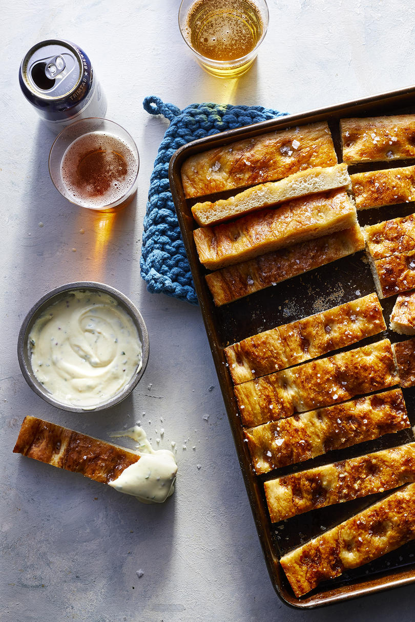 Sheet Pan Pretzel Focaccia with Cheese Sauce