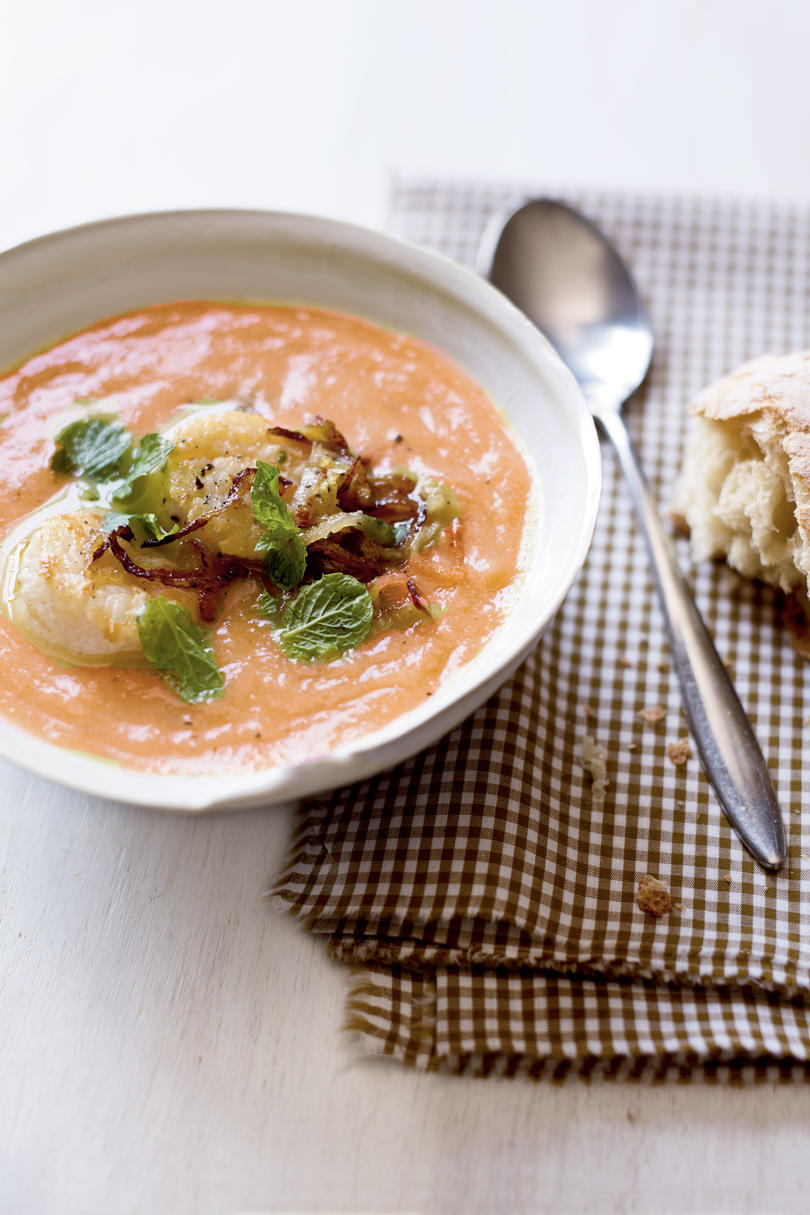 Curry Citrus Cauliflower Soup with Seared Scallops and Crispy Shallots