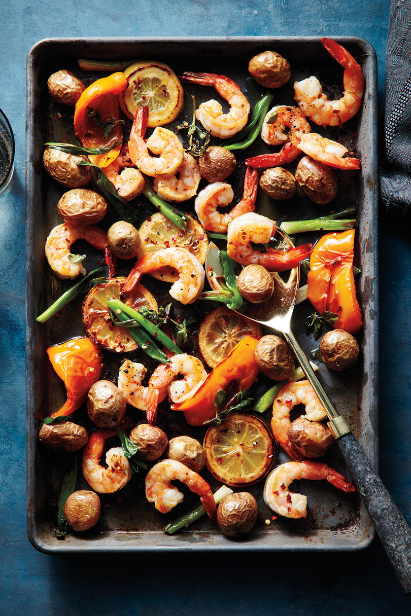 Sheet Tray Shrimp and Potatoes With Lemon