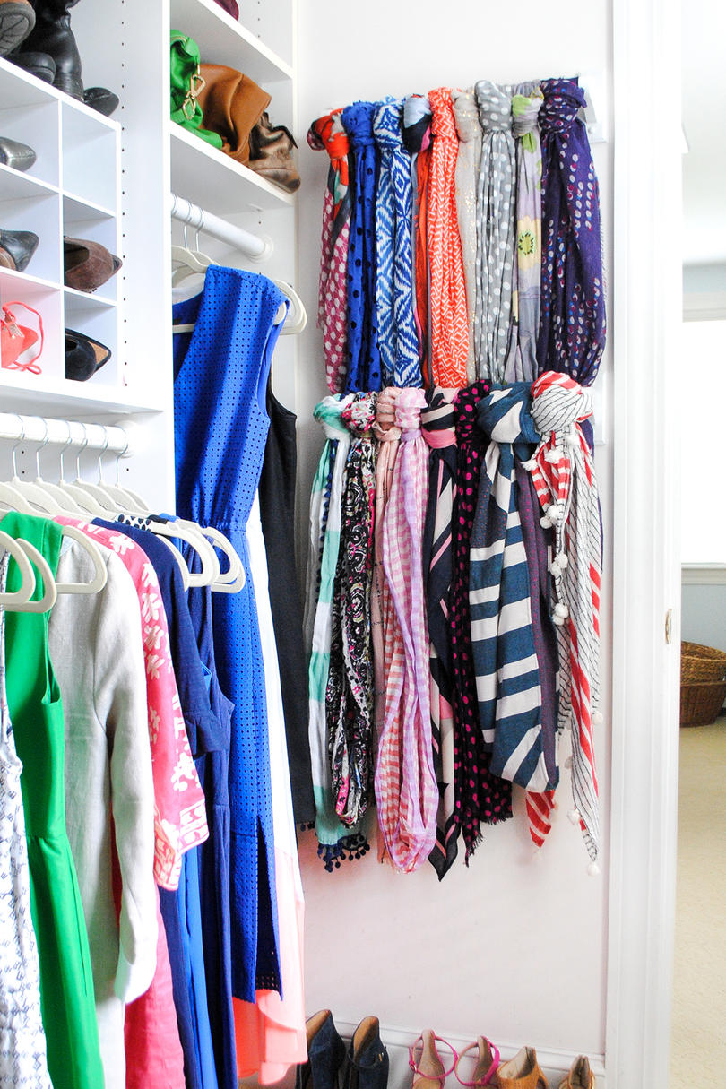 Turn Towel Bars into Scarf Storage