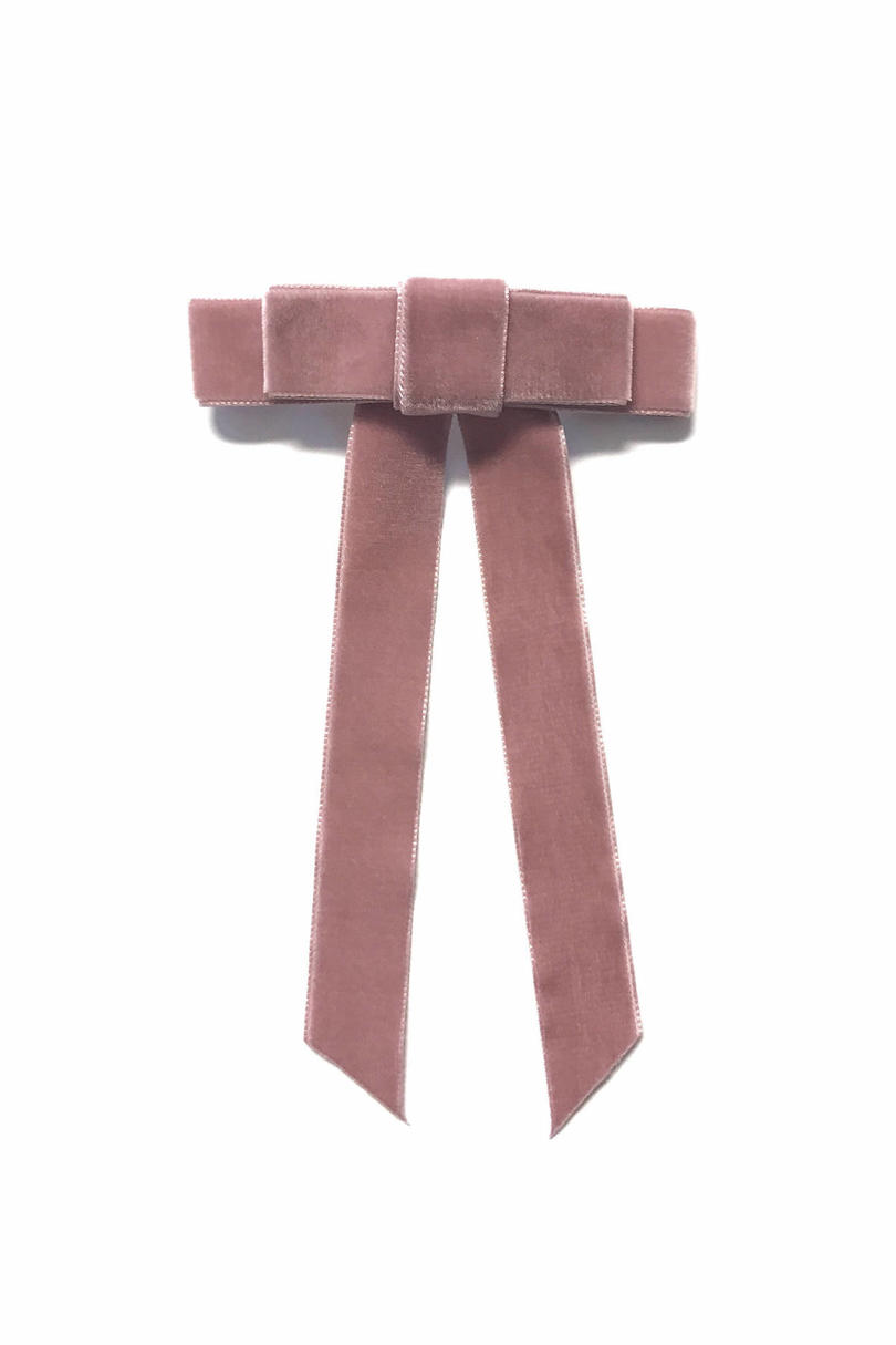 Rose Mauve Velvet Hair Ribbon