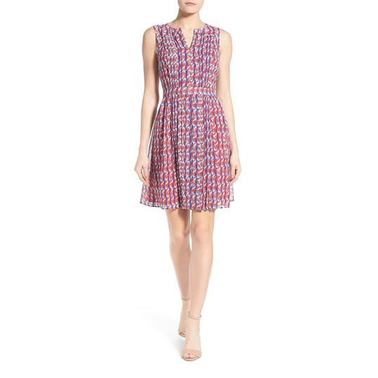 Halogen® Pleated Fit & Flare Dress