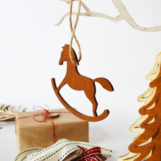 Wooden Rocking Horse Christmas Ornaments