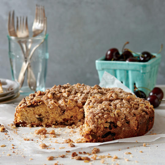 Cherry-Hazelnut Cake with Streusel Topping