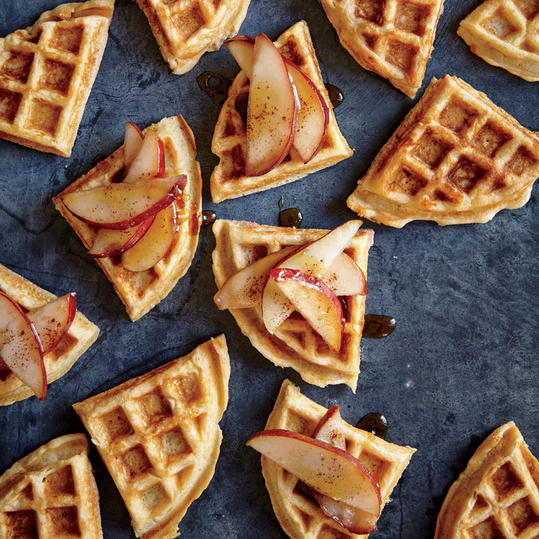 Ham and Gruyère Belgian Waffles with Sautéed Pears