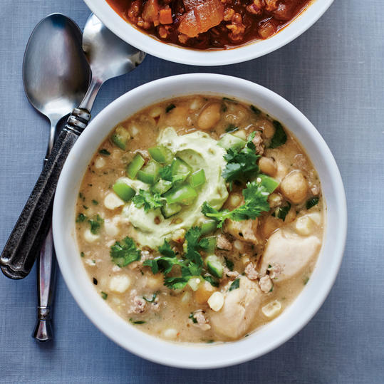 White Chicken Chili with Avocado Cream