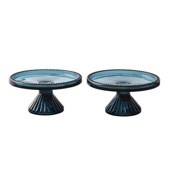 Hearth & Hand with Magnolia Blue Glass Cupcake Stand, Set of 2