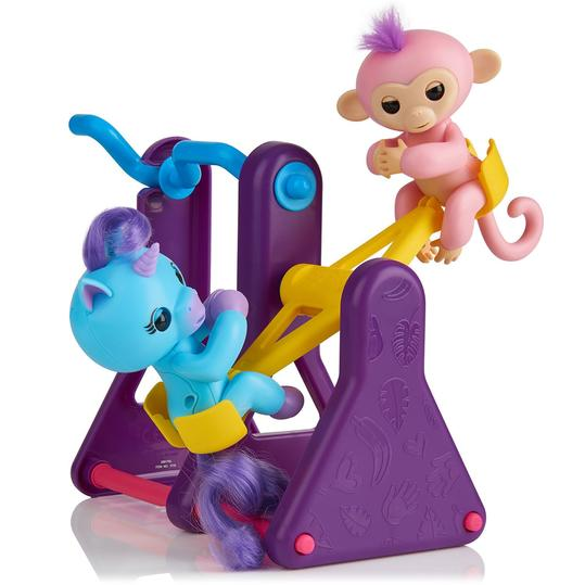 WowWee Fingerlings Playset - See-Saw with 2 Fingerlings Toys, Coral & Callie