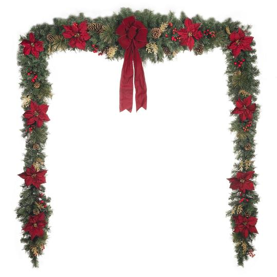 17ft Unlit Gold Glitter Cedar and Mixed Pine Garland with Burgundy Poinsettias; $98.98