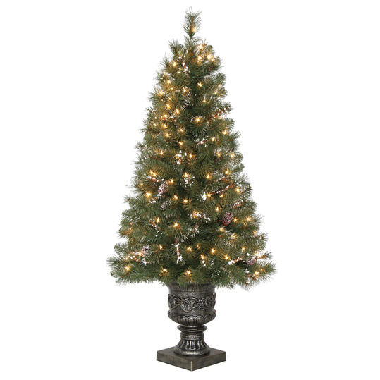 4.5 ft. Pre-Lit Alpine Potted Artificial Christmas Tree