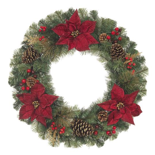 Unlit Artificial Christmas Mixed Pine Wreath with Red Poinsettias; $24.98