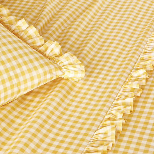 Gingham Ruffle Sheets in Yellow