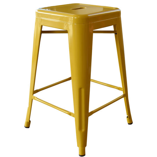 AmeriHome Stackable Metal Bar Stool in Gold
