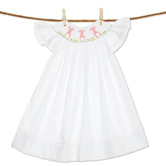 White Smocked Dress with Pink Bunnies