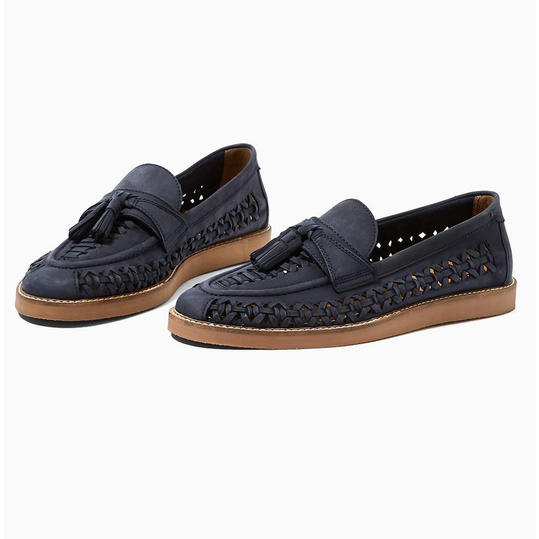 Navy Leather Weave Loafers