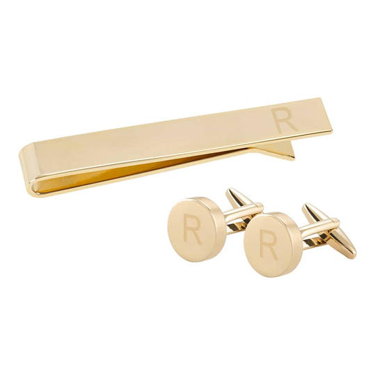 Monogram Cuff Links & Tie Bar Set