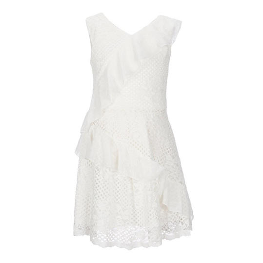 Mixed-Lace Ruffle Detail Dress