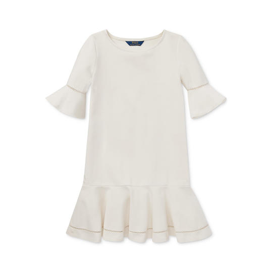 Ponté-Knit Inset-Lace Dress