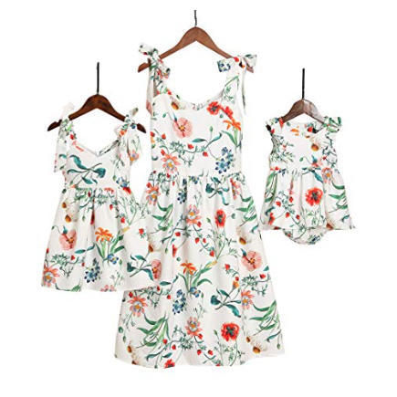 Sweet Shoulder-Straps Floral Dresses