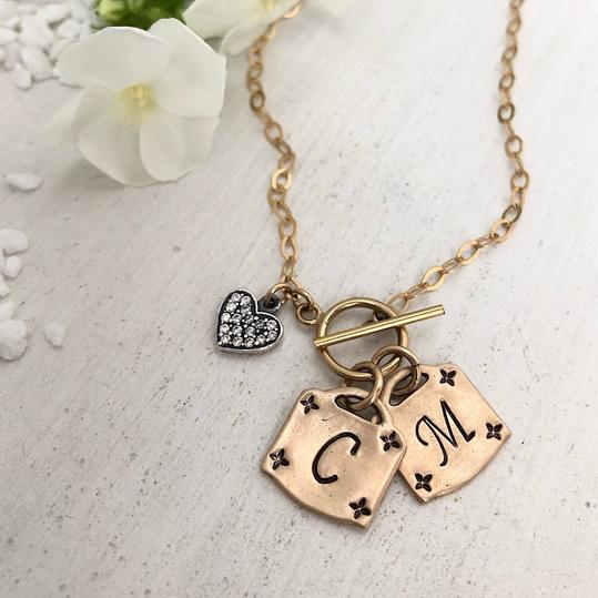 Isabelle Grace Jewelry Lock Toggle Initial Necklace, $69.00