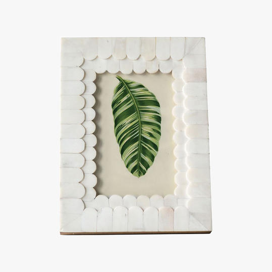 Dear Keaton Scalloped Natural Bone Photo Frame