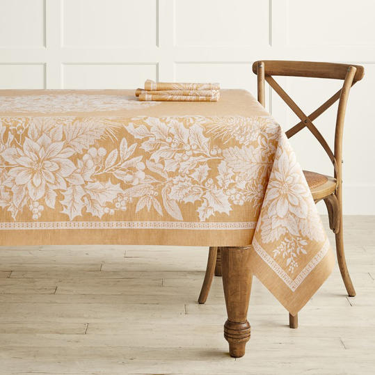 Holiday Floral Jacquard Tablecloth