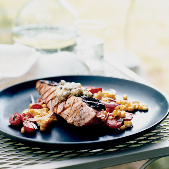 Grilled Salmon with Dill Pickle Butter