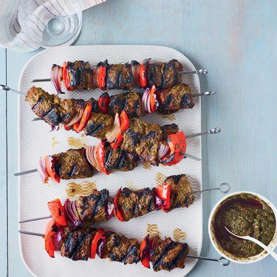 Grilled Rib Eye Brochettes with Charmoula