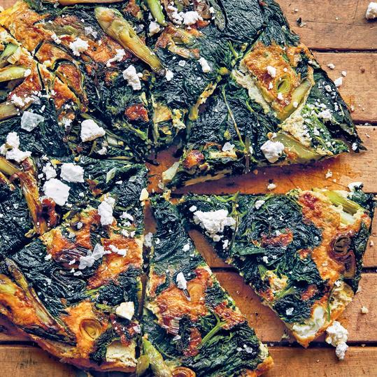 Asparagus, Nettle, and Green Garlic Frittata