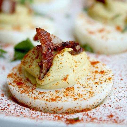 Bacon Sriracha Avocado Deviled Eggs recipe
