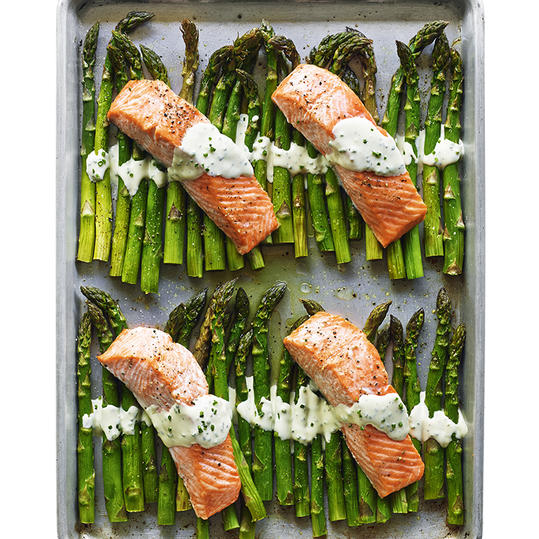 Broiled Salmon and Asparagus with Crème Fraîche
