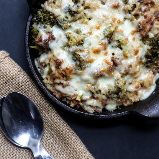 Cheesy Broccoli and Rice Casserole with Sausage
