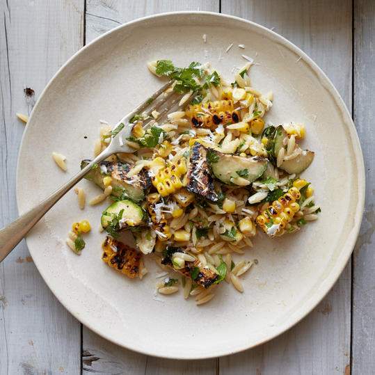 Corn and Zucchini Orzo Salad with Goat Cheese