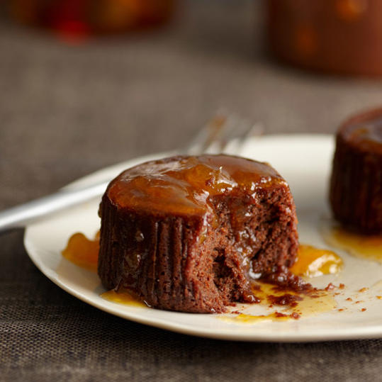 Warm Chocolate Cakes with Apricot-Cognac Sauce