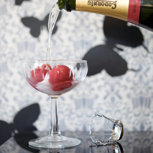 Black Pepper-Raspberry Sorbet with Prosecco