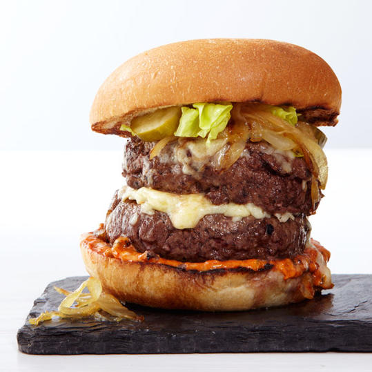 Double Cheeseburgers with Caramelized Onions