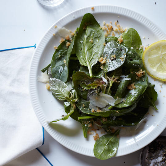 Spinach Salad with Bagna Cauda Dressing