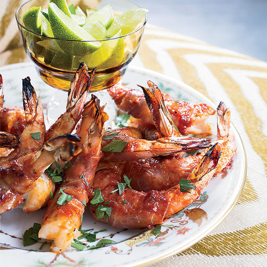 Prosciutto-Wrapped Shrimp with Bourbon Barbecue Sauce