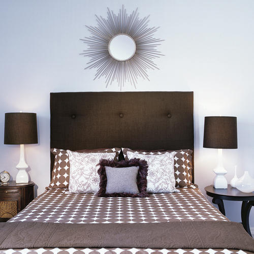 Upholstered Headboard with a Mod Motif