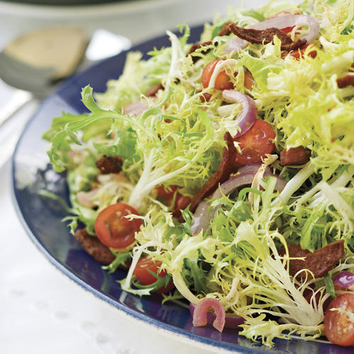 Warm Frise Salad With Crispy Kosher Salami