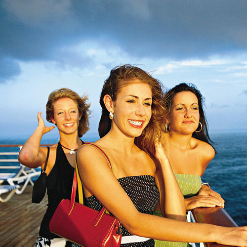 three girls on deck of cruise ship from Galveston